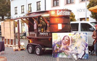 SchankFass Fass Bierfass Kunstgenuss bis Mitternacht rustikal mobiler Schankwagen